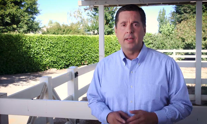 """In a video from his Facebook page, Devin Nunes is seen calling the Fresno Bee's reporting """"fake news."""""""