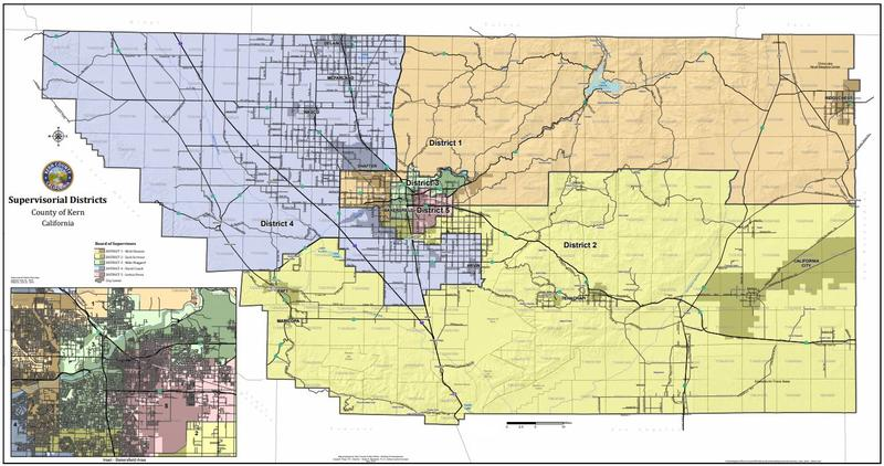 Kern County's Supervisorial distrcit map.
