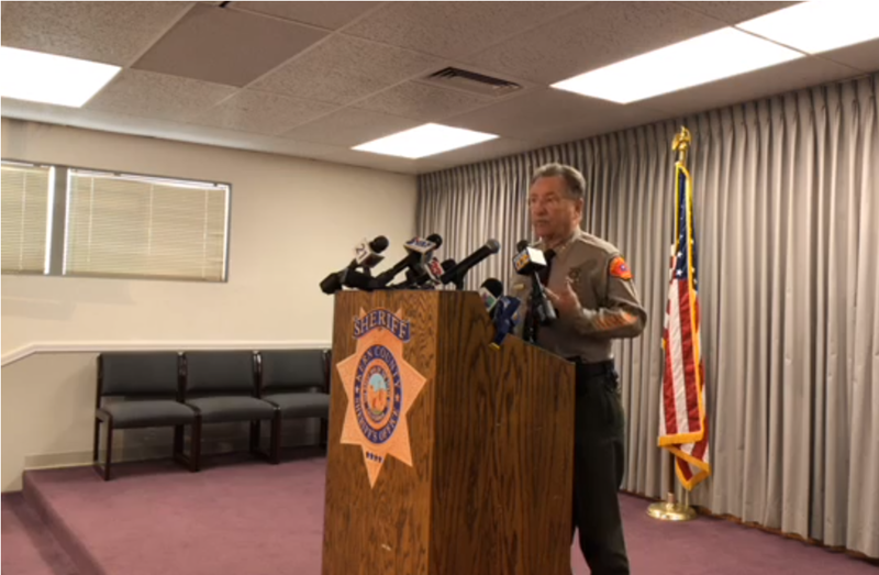 Kern County Sheriff Donny Youngblood speaks about the shooting at a press conference on Thursday, September 13.
