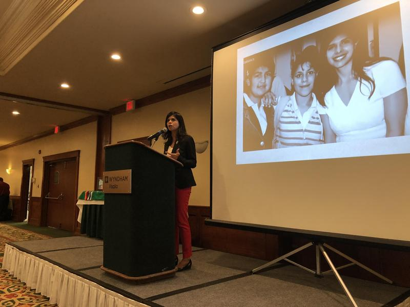Aileen Rizo, candidate for state Assembly, spoke at a Latinas in Business and Professions Association lunch about her lawsuit for equal pay, which in part led her to run for office.