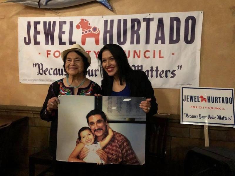 Jewel Hurtado's campaign recieved support from labor union icon Dolores Huerta, who attended one of Hurtado's fundraisers. Hurtado's grandparents worked with both Huerta and Cesar Chavez.