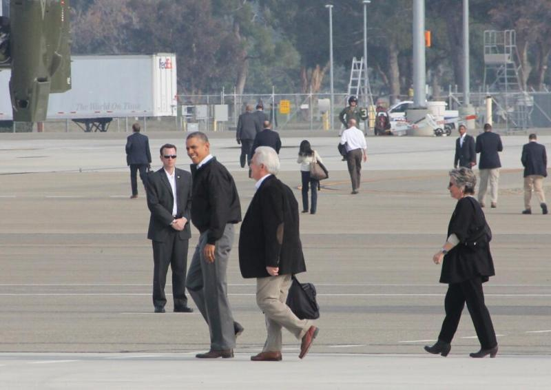President Obama walks toward Marine One with Rep. Jim Costa