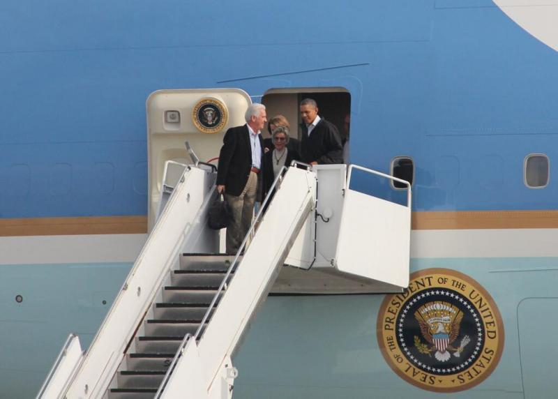 President Obama exists Air Force One with Rep. Jim Costa