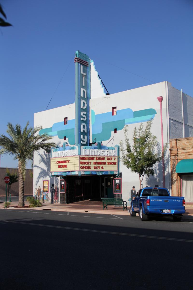 Even modest movie houses like this one in Lindsay CA adopted Art Deco inspired design elements.