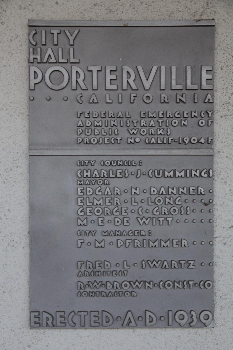 The Art Deco aesthetic even extended to the plaques adorning many of the civic buildings of the 1930's, such as this one on Porterville's 1939 city hall building.