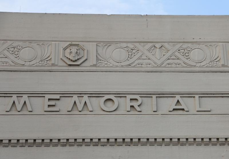 Often overlooked by most visitors, the medallions on the front of the Memorial Auditorium actually feature cow skulls