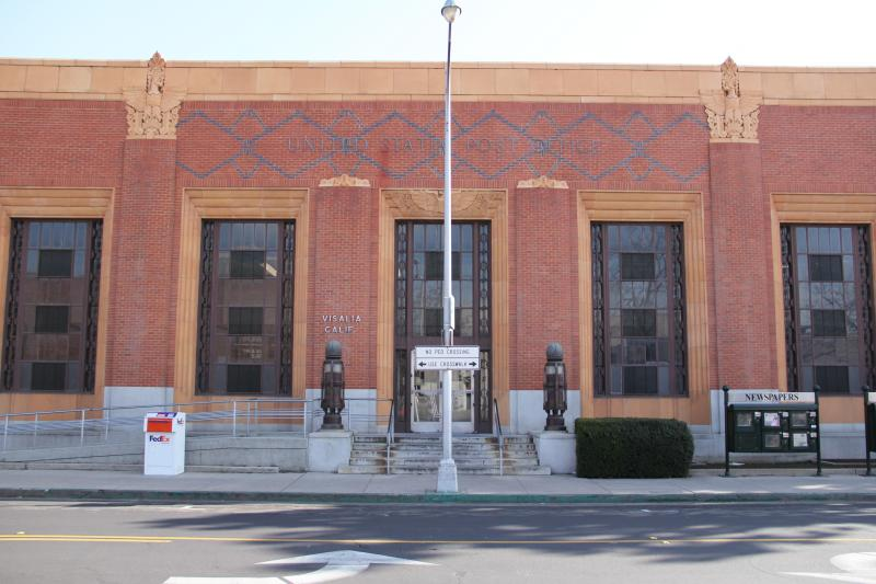 Visalia's downtown post office was built in 1933 and was designed by Fresno architect W.D. Coates.