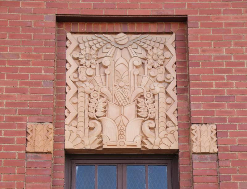 Visalia's downtown post office is clad in simple red brick, yet it features many outstanding Art Deco details. These terra cotta reliefs deptic a highly stylized cornucopia, reflecting the Valley's agricultural heritage.