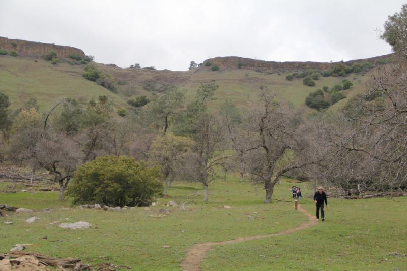 Hikers begin the ascent up the mountain
