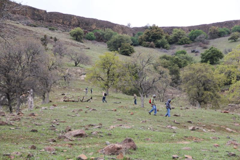 Hikers make the steep ascent up the mountain