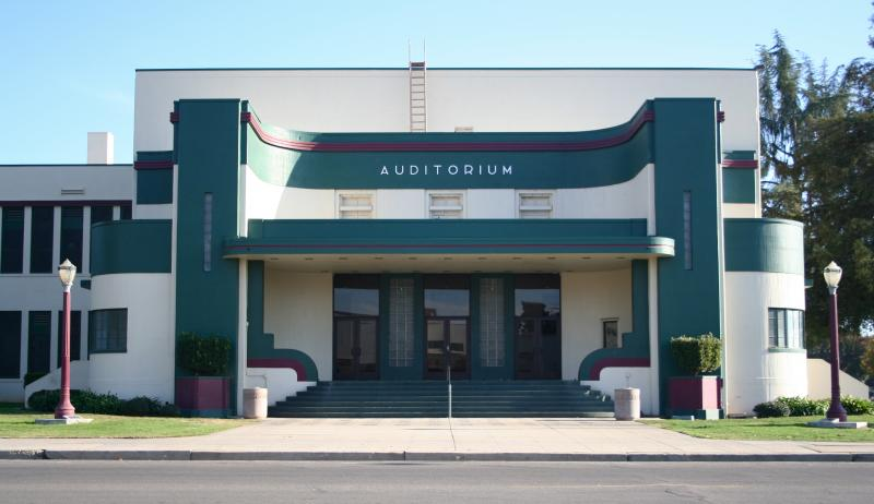 The Dinuba High School Auditorium is a fine example of Art Deco's 1930's-era cousin, Streamline Moderne