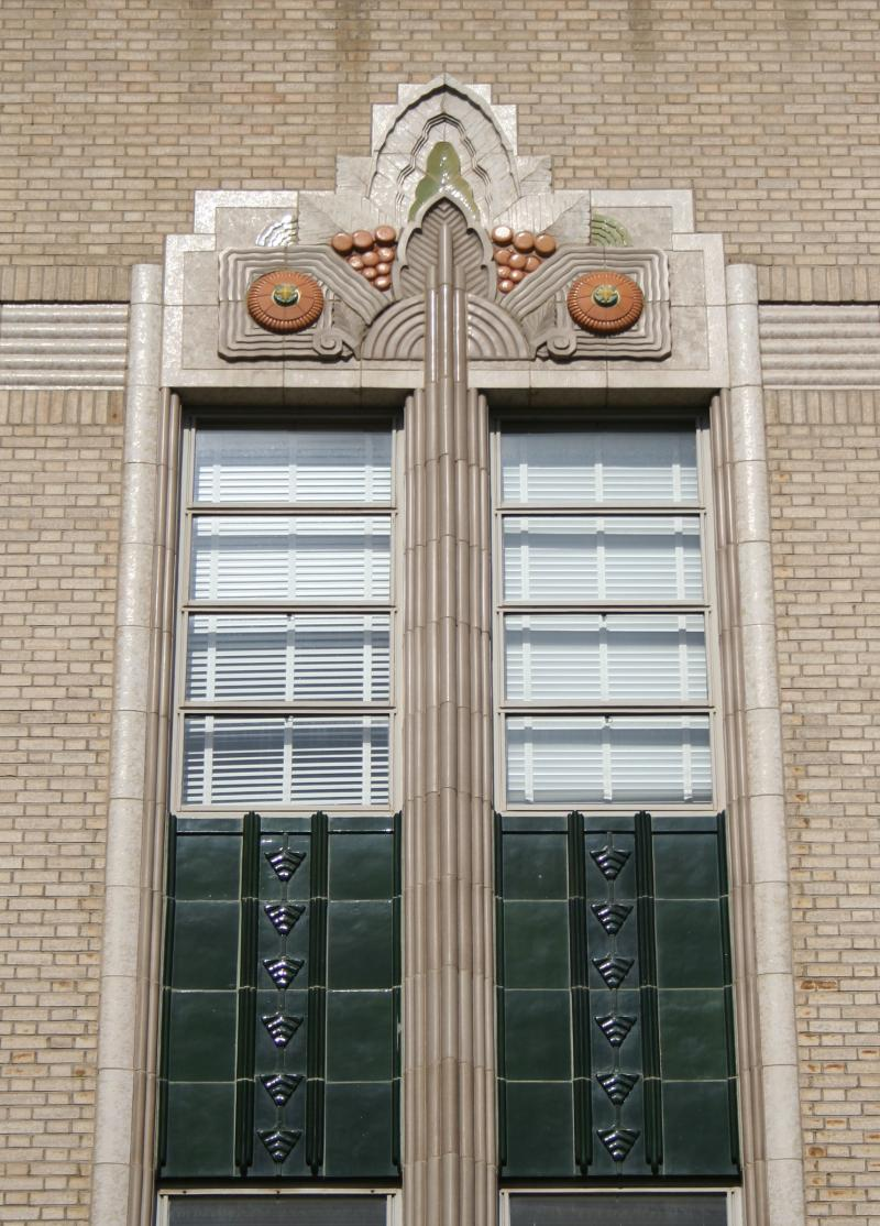 Ornate Art Deco ornamentation is seen above the windows on Bakersfield's Kress building