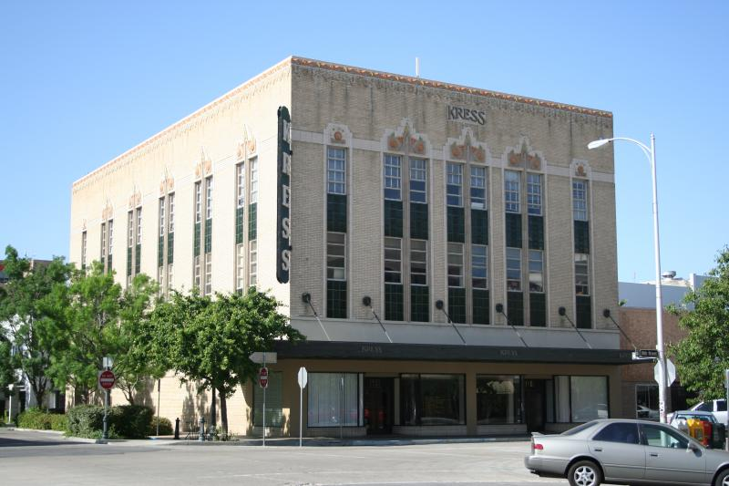 The historic Kress building in downtown Bakersfield is an excellent example of Art Deco architectural ornamentation
