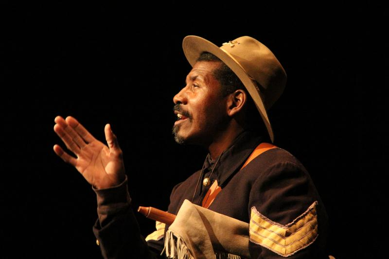"Yosemite ranger Shelton Johnson portrays one of the park's ""Buffalo Soldiers"" in a weekly stage play"
