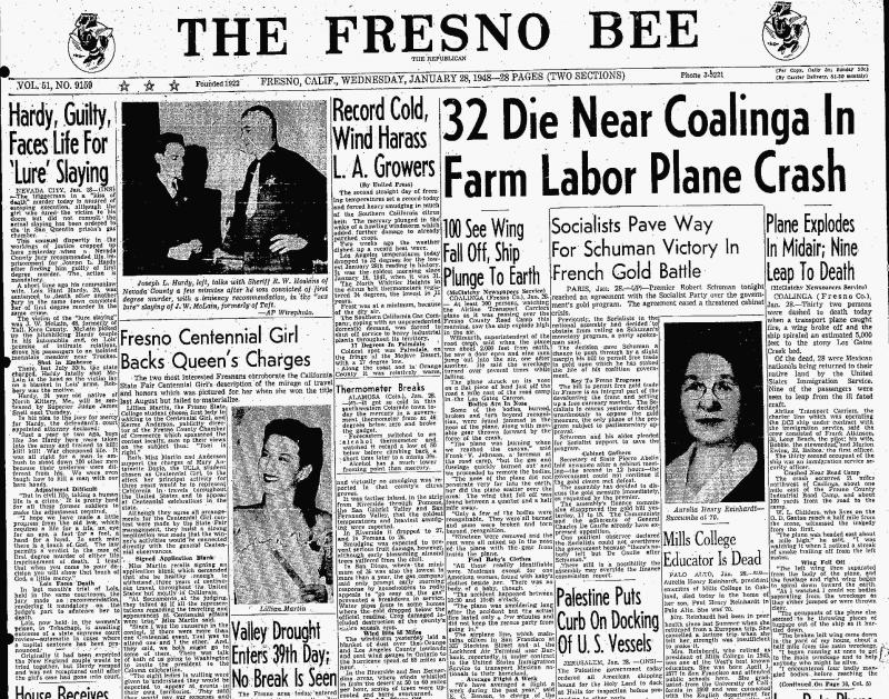 The cover of The Fresno Bee - January 28, 1948