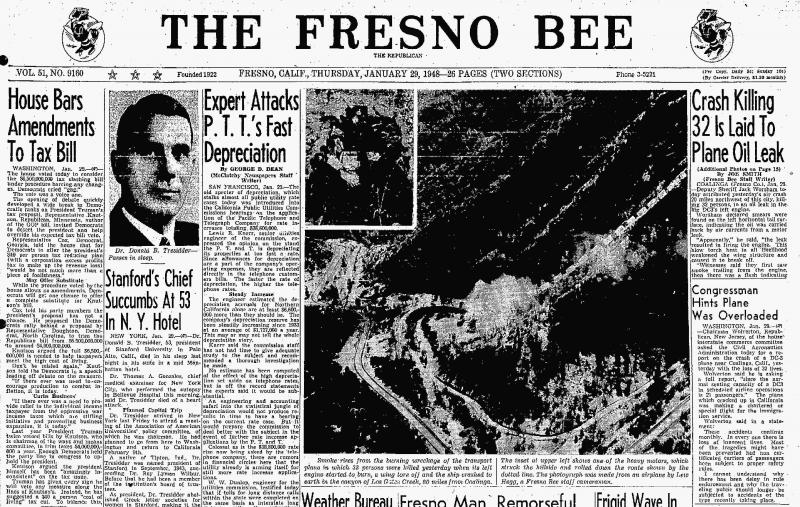 The cover of The Fresno Bee - January 29, 1948