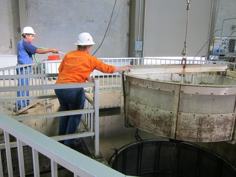 A holding tank where fish are held before a mechanical bucket removes them to put them in the tanker truck.