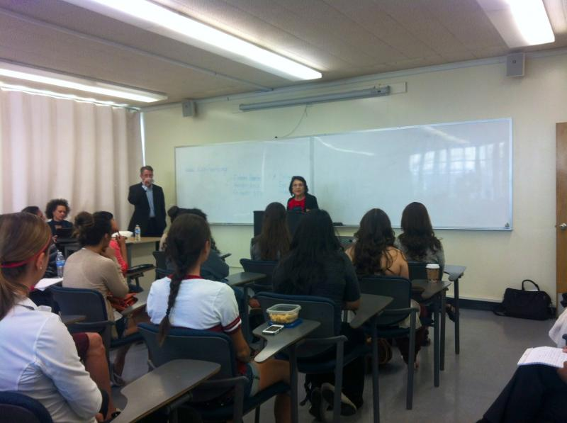 Dolores Huerta spoke to a class of Fresno State students about signing up for the Affordable Care Act