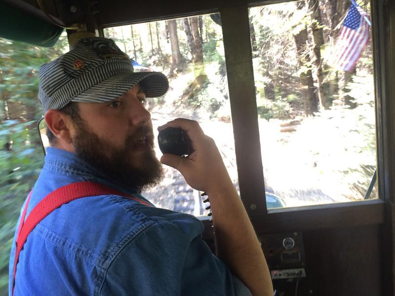 Josh Trayor conducts rides daily at Yosemite Mountain Sugar Pine Railroad.