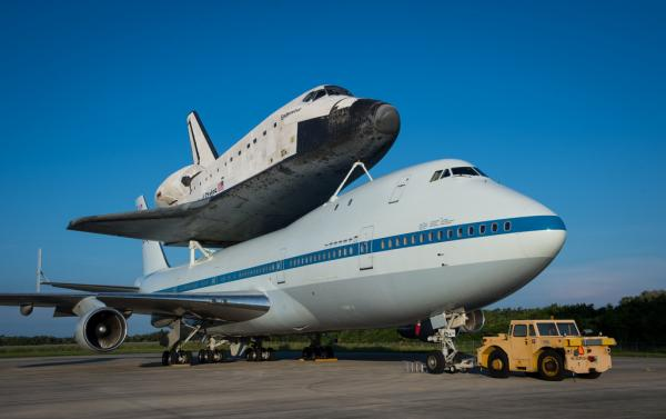 Space shuttle Endeavour is seen atop NASA's Shuttle Carrier Aircraft, or SCA, at the Shuttle Landing Facility at NASA's Kennedy Space Center on Tuesday, Sept. 18, 2012 in Cape Canaveral, Fla.