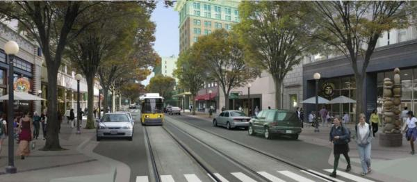 A computer illustration of what Fresno's Fulton Mall might look like after the re-introduction of vehicle traffic.