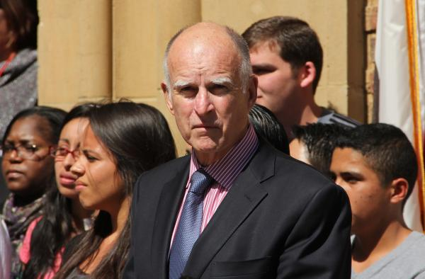 California Governor Jerry Brown, awaiting a speaking engagement at a rally at Fresno City College