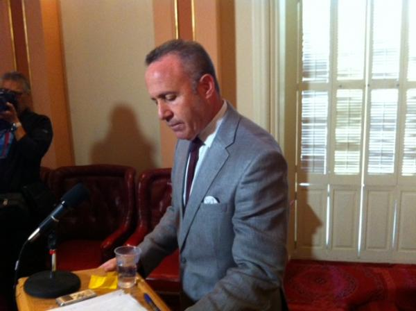 Senate President pro Tem Darrell Steinberg (D-Sacramento) speaks with reporters Thursday in the Senate chambers in response to the FBI affidavit alleging Sen. Ron Calderon (D-Montebello) took bribes in an undercover sting operation.