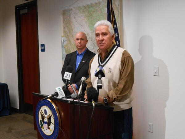 Congressman Jim Costa (D-Fresno) speaks to the media today about California's drought