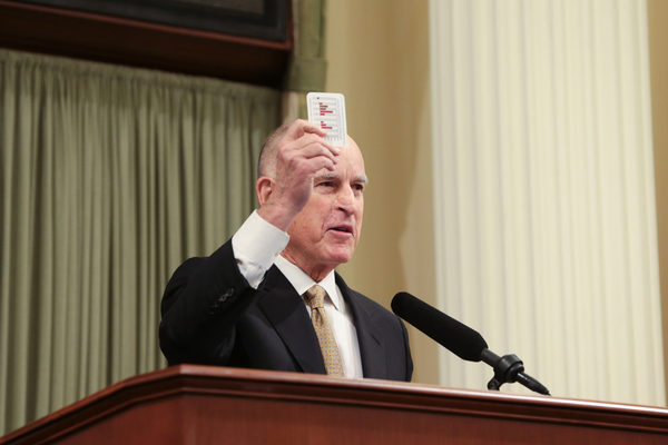 California Governor Jerry Brown delivered his State of the State address today in Sacramento.