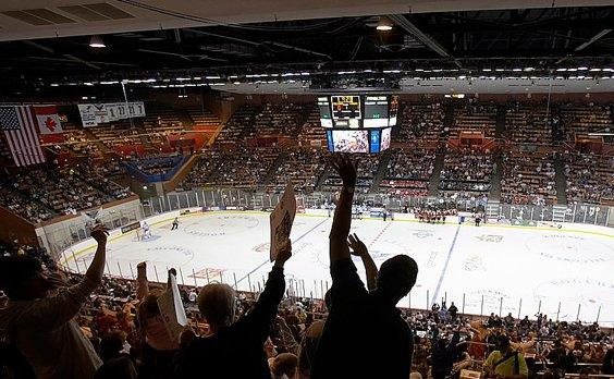 Ice hockey fans cheered the Fresno Falcons for only a few games in 2007 before the team went out of business.