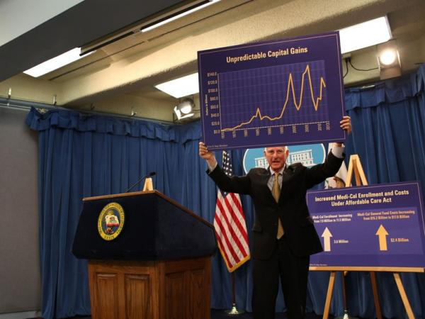 Gov. Jerry Brown holds up a chart at his May Budget Revise press conference on Tuesday, May 13, 2014.