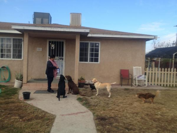 Teresa De Anda stands in front of her Earlimart home, feeding her pets during a KVPR interview in 2013.