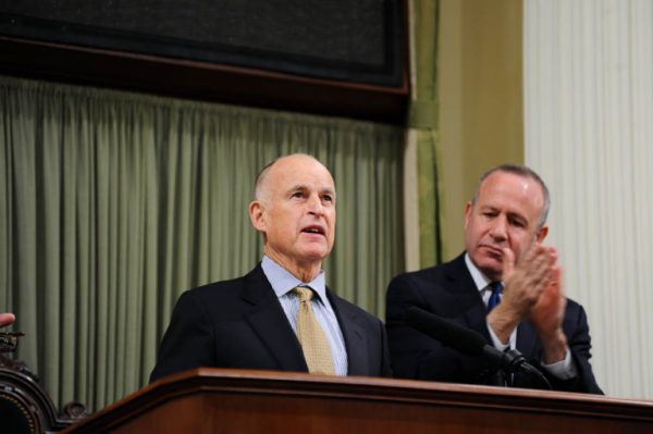 California Governor Jerry Brown delivers his address at the state capitol on January 24, 2013.