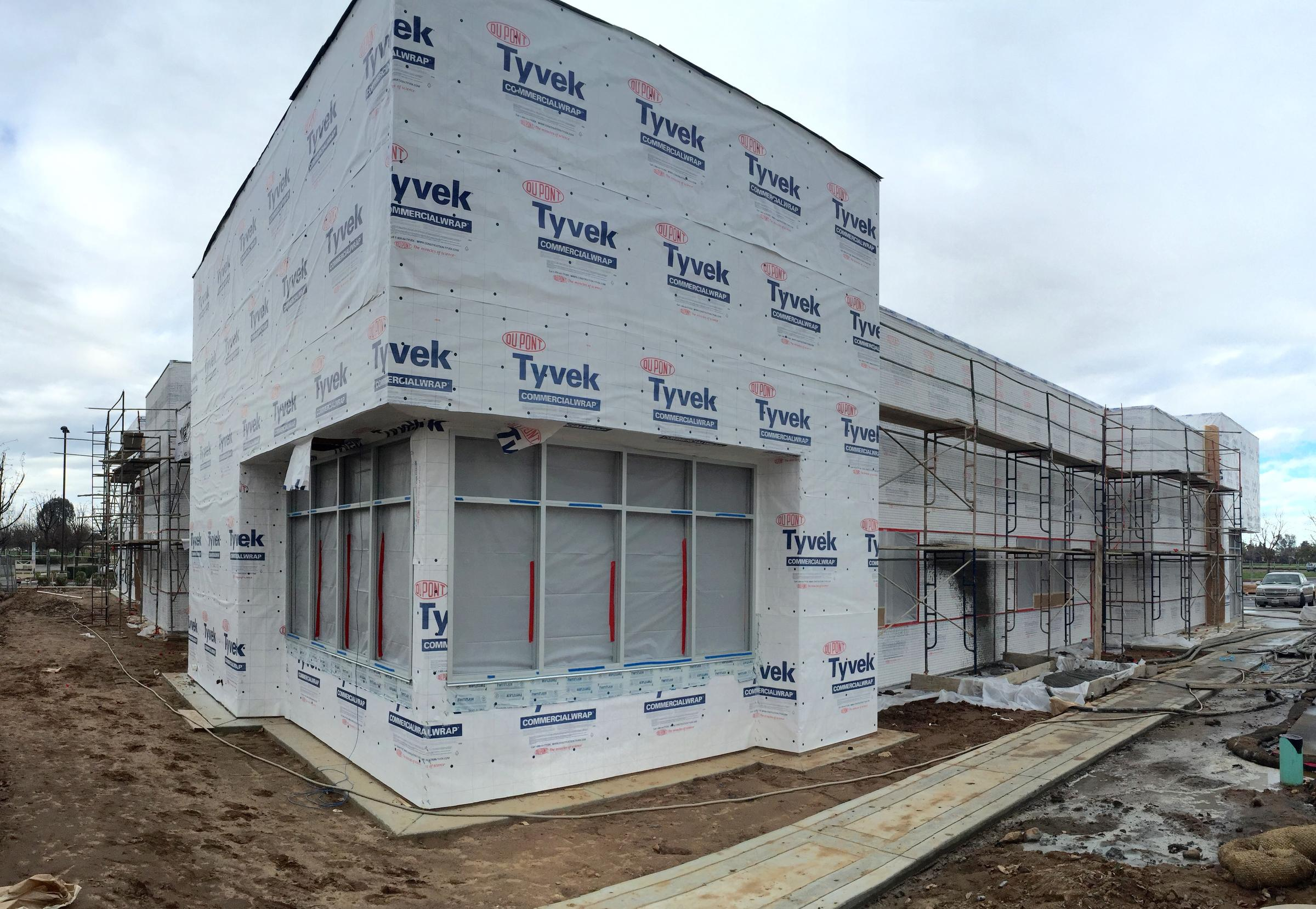 Workers Start Applying Stucco To KVPR\'s New Home | Valley Public Radio