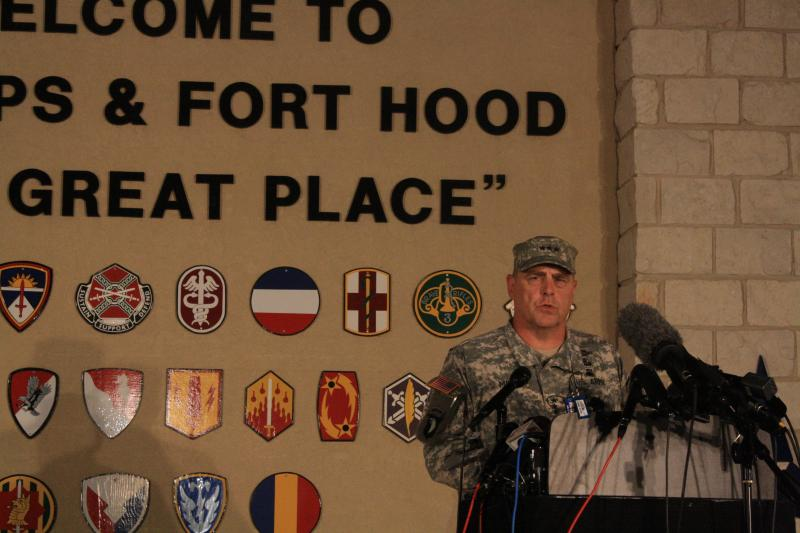 General Mark Milley, Fort Hood's commanding general, briefs the media about the shooting outside of Fort Hood military base.