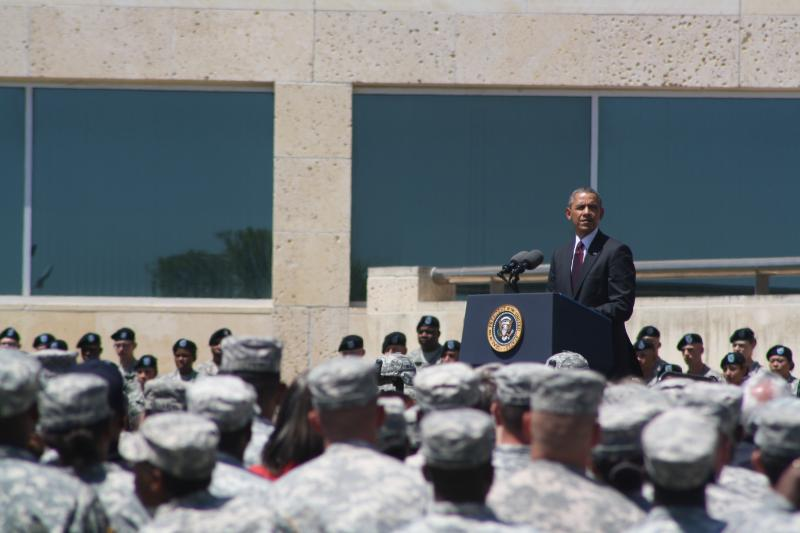 President Obama speaks at the memorial for three fallen soldiers at Fort Hood.