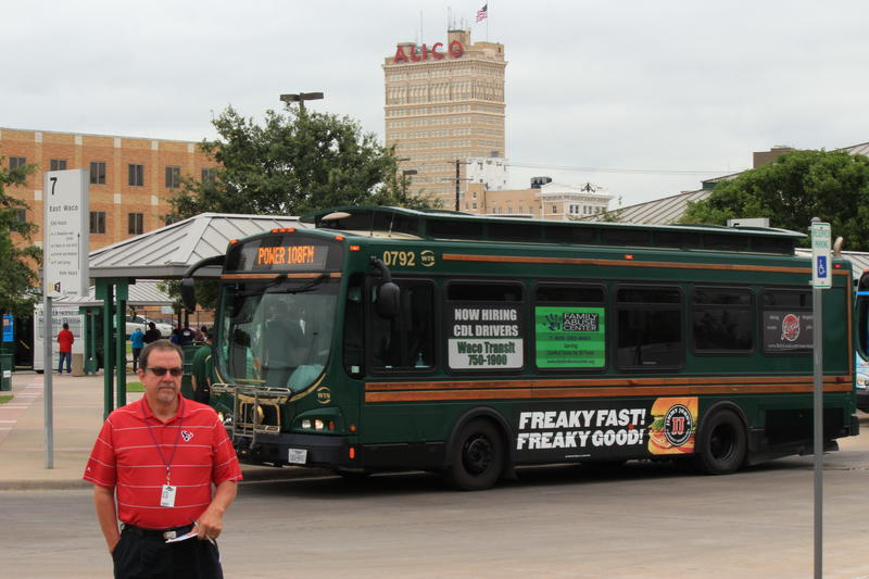 Waco ISD's David Ellis stands infront of the Waco Transit Center.