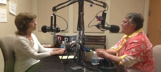 Susan Cowley (L) talking with Liz Taylor (R) on KWBU's Central Texas Leadership Series