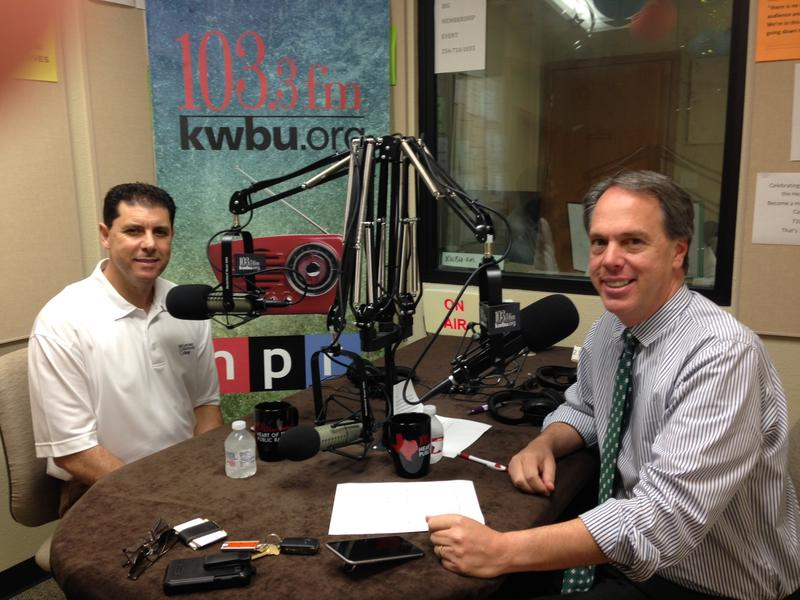 Dr. David Oualaalou (l) with David Schleicher (r) in KWBU Studios June 21, 2016.