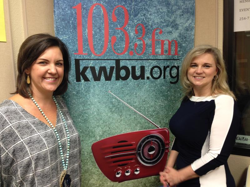 Felicia Goodman (L) in the KWBU studio with Ashley Allison (R)