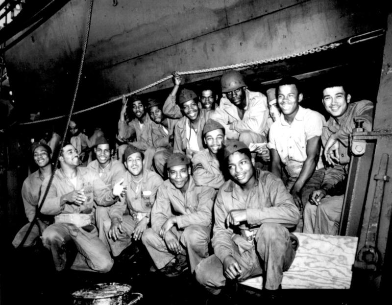 A group of African American Marines on a Coast Guard Transport in the Pacific