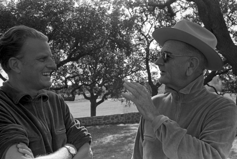 Rev. Billy Graham and President Lyndon B. Johnson at the LBJ Ranch in 1965.