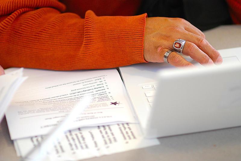 In El Paso, a teacher from Ysleta ISD grades exams.