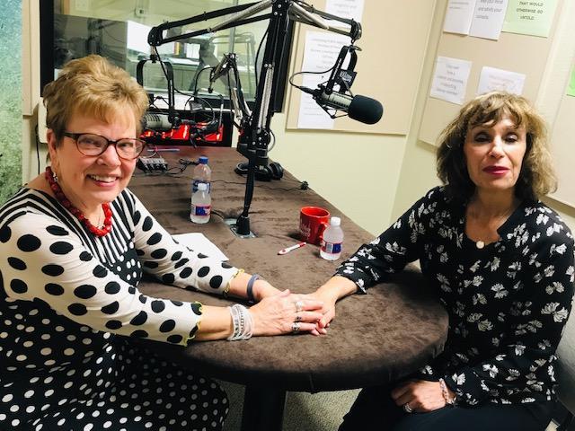 Nan Holmes (left) with Barbara Mosacchio (right) in the KWBU Studio, Nov. 7, 2018
