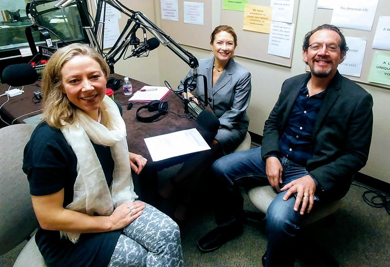 Fiona Bond with Lori Baker and Carlos Colon in the KWBU studio