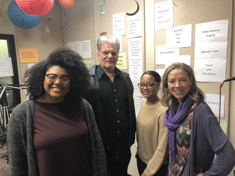 (From left to right) Rae Jefferson, Chuck Jennings, Kennedy Sam and Fiona Bond in the KWBU Studios on Jan. 15, 2019.