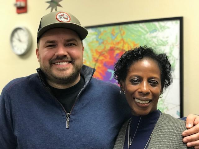 Austin Meek and Patricia Chisolm-Miller in the KWBU Studios on Jan 28, 2019