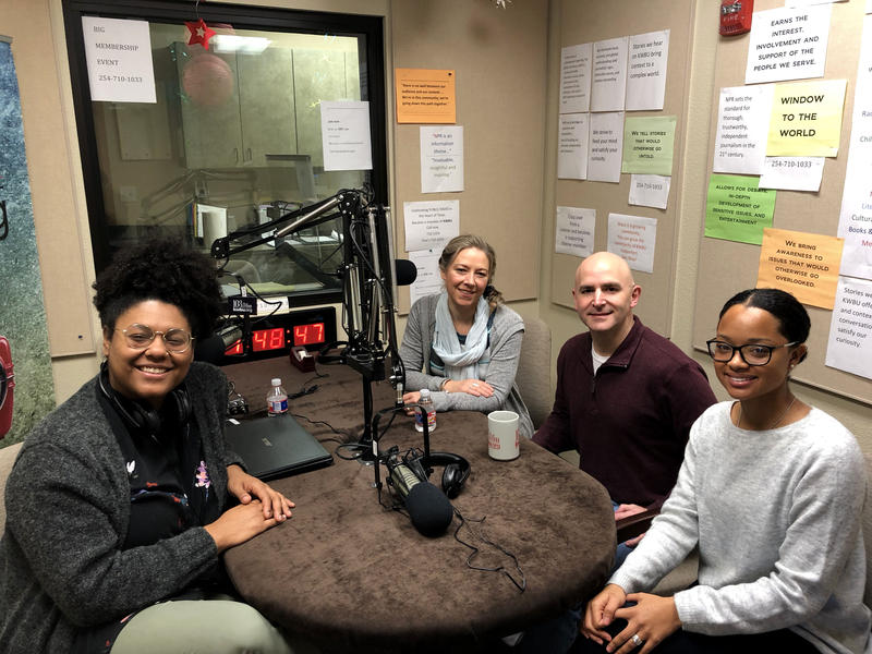 (From left to right) Rae Jefferson, Fiona Bond, Samuel Thomas and Kennedy Sam in the KWBU Studios.
