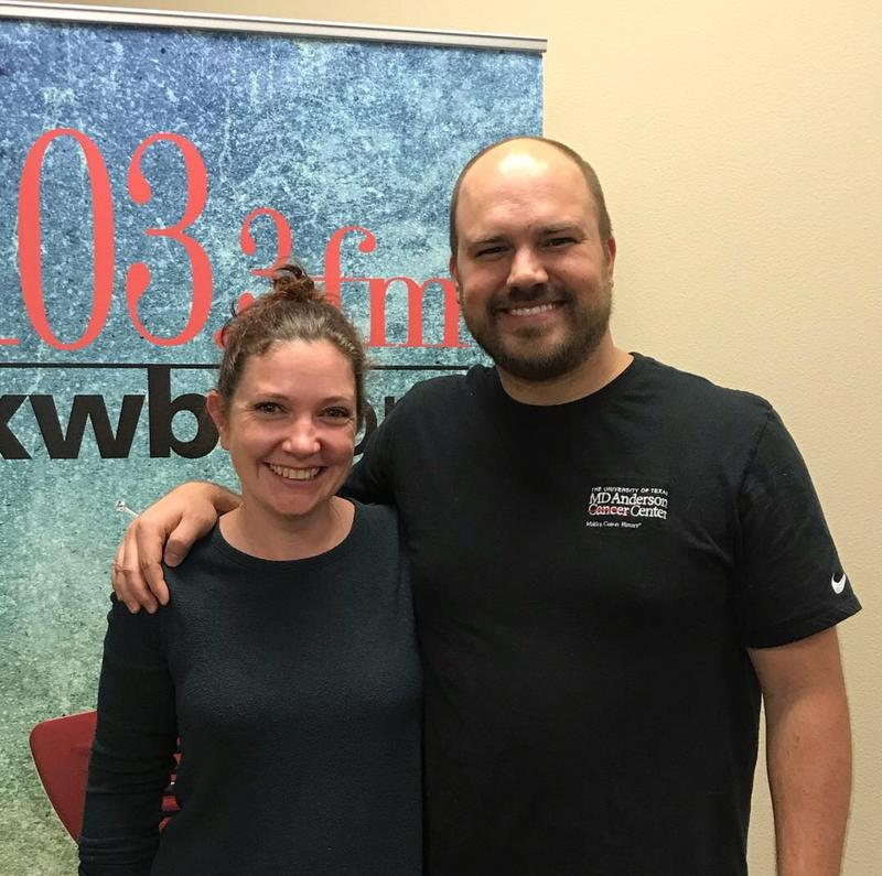 Annie Hepp and Austin Meek in the KWBU Studios on March 12, 2019.