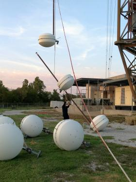 All eight antenna elements and interconnecting lines on the ground for repairs